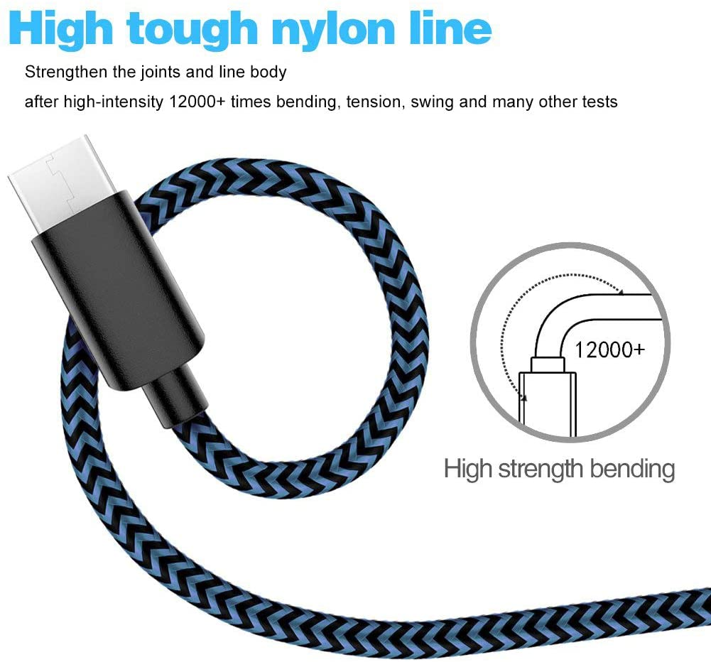 USB C Cable Fast Charge USB Type C Cable 4 Pack (3FT 6FTx2 10FT) Durable Fast Charging Cord Nylon Braided Compatible with Samsung Galaxy S20 /S20+ S10 S9 S8 Plus Note 10 9 8(Black Blue)