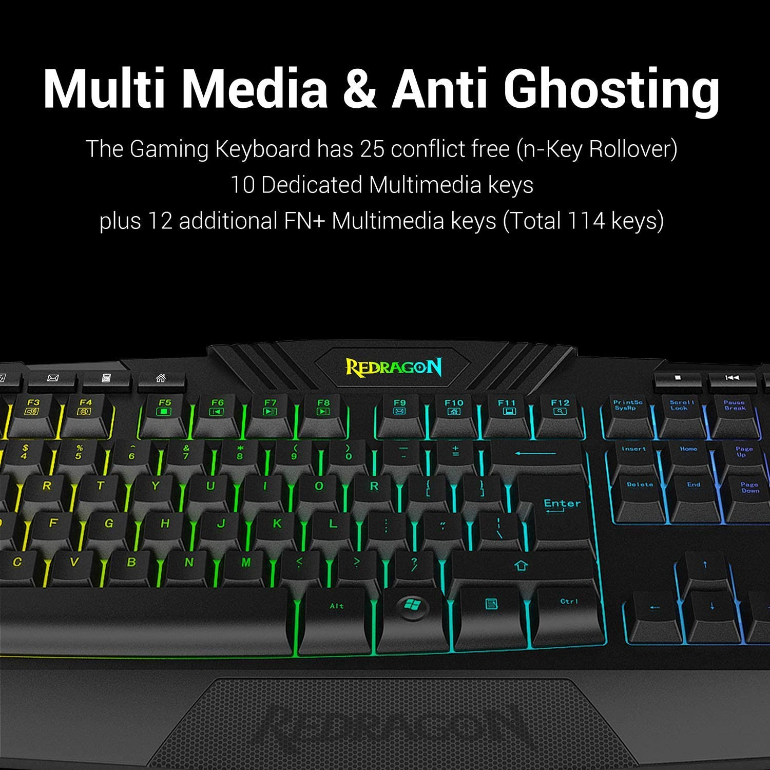 Redragon S101 Wired Gaming Keyboard and Mouse Combo RGB Backlit Gaming Keyboard with Multimedia Keys Wrist Rest and Red Backlit Gaming Mouse 3200 DPI for Windows PC Gamers (Black)