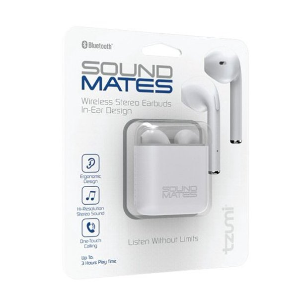 Tzumi 5761WM Sound Mates Bluetooth Earbuds with Protective Charging Case