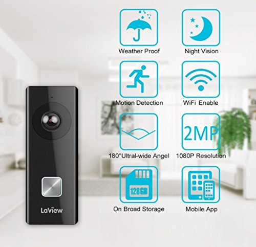 LaView WiFi 1080P Video Doorbell Camera with On-Board Storage with Pre-Installed 16GB Micro SD, Motion Detection, Two-Way Audio, Night Vision, Free Apps and Remote View
