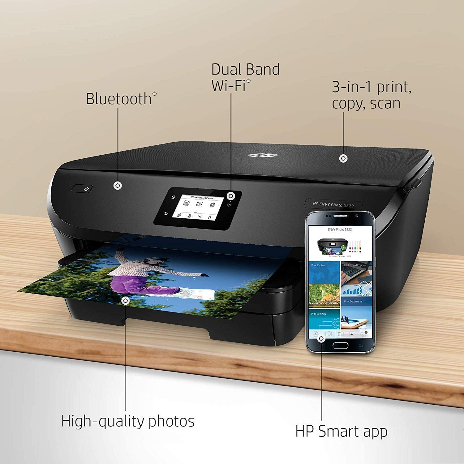 HP ENVY Photo 6222 Wireless All-in-One Printer with Craft it! Bundle