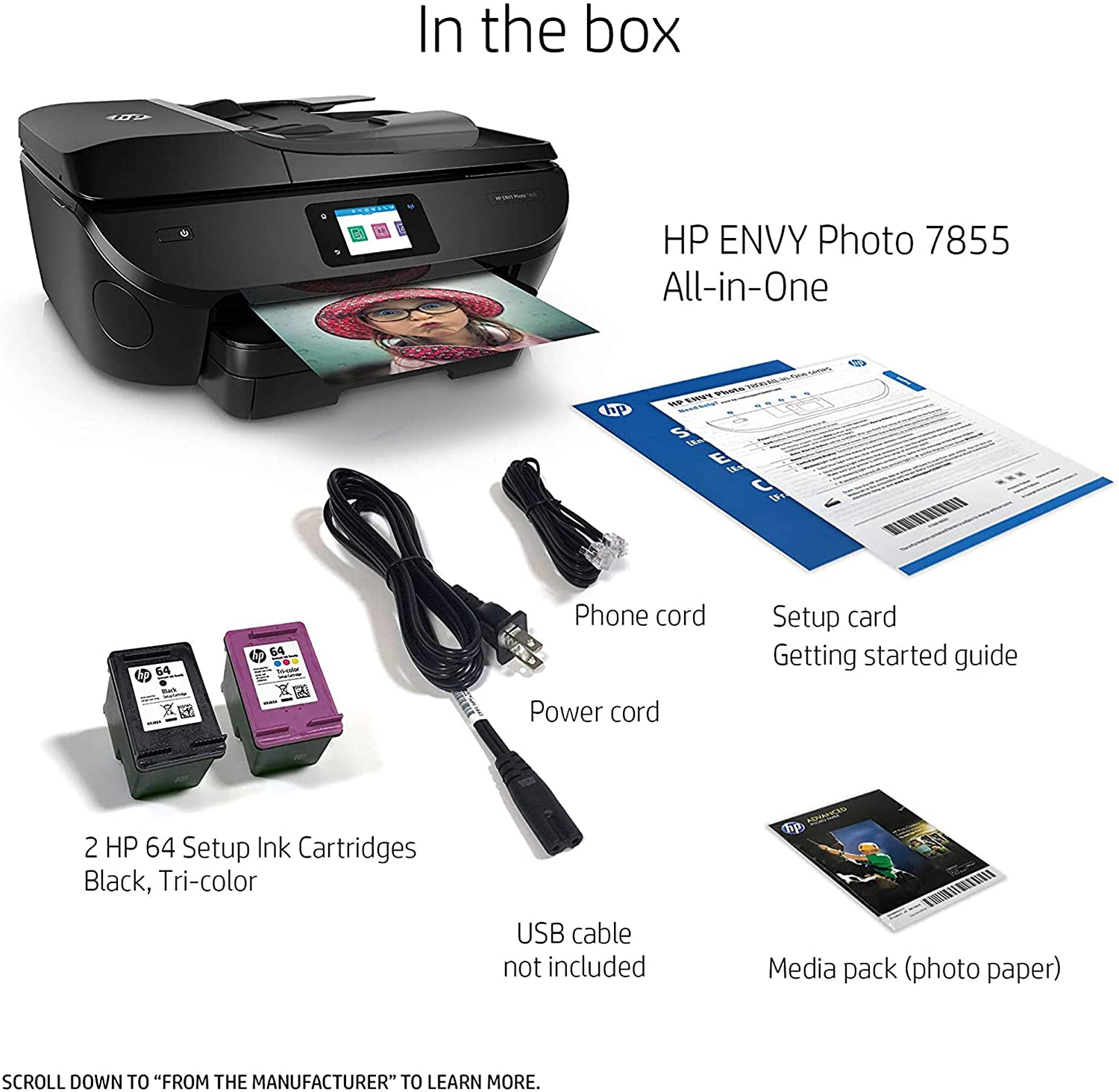 HP ENVY Photo 7855 All in One Photo Printer with Wireless Printing, HP Instant Ink ready, Works with Alexa