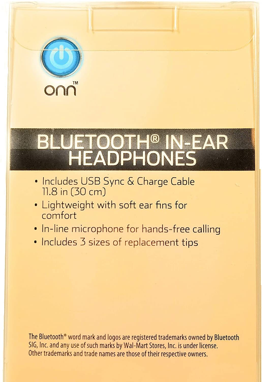 ONN Bluetooth 7 Hour Battery Life in-Ear Headphones with Built-in Microphone