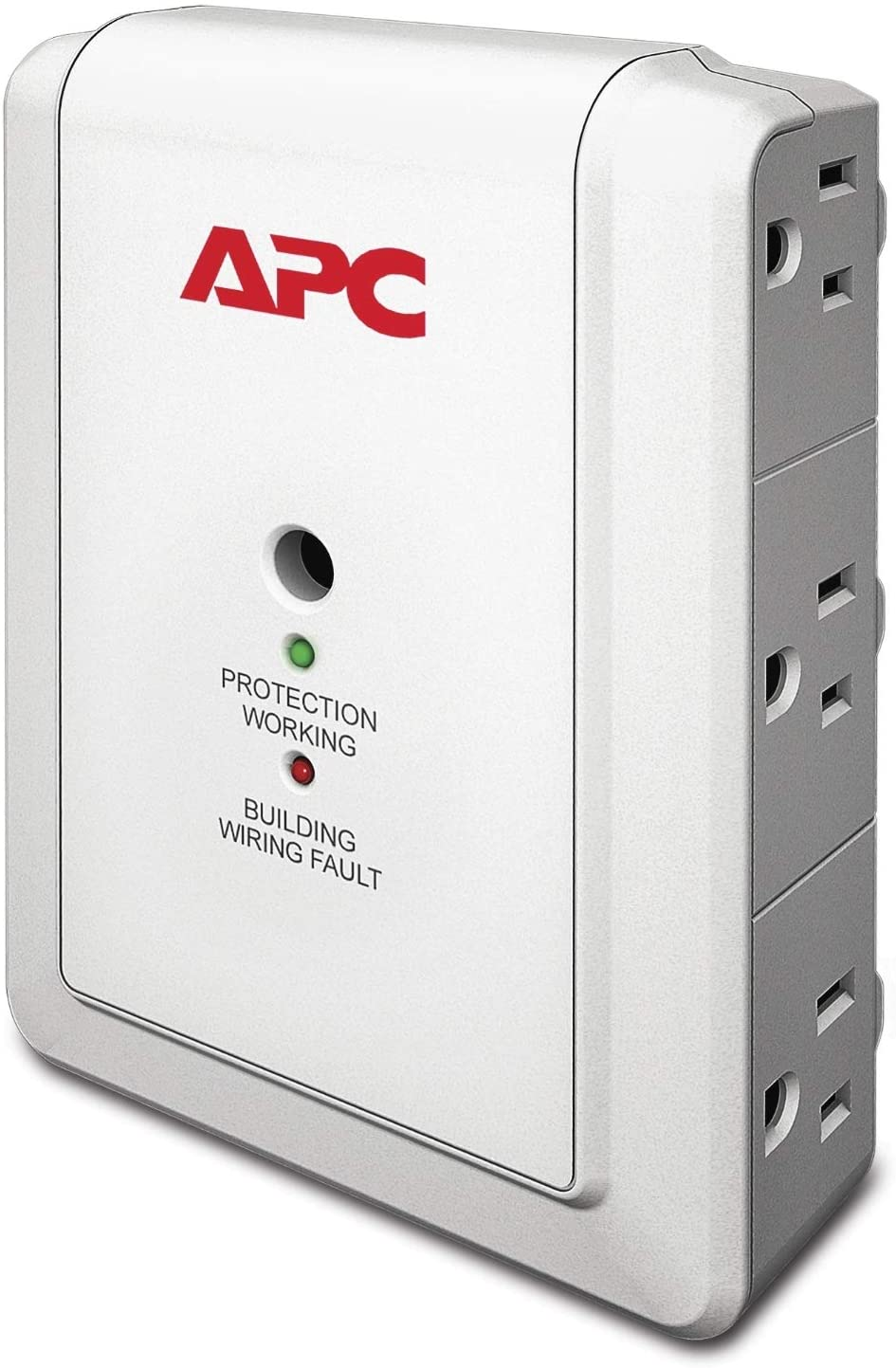 Roll over image to zoom in APC Wall Outlet Multi Plug Extender, P6W, (6) AC Multi Plug Outlet, 1080 Joule Surge Protector white